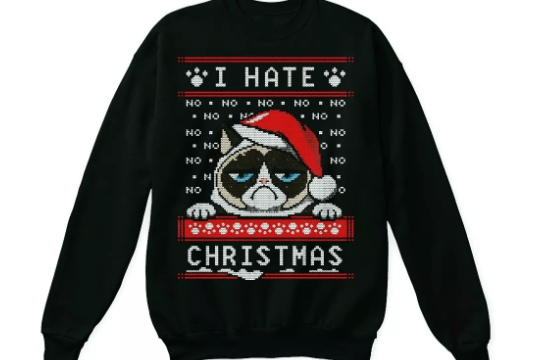 jersey navideño con gato enfadado
